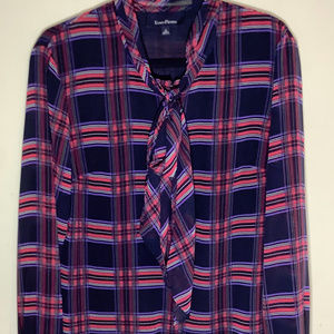 Evan Picone Plaid Tie Neck Career Blouse